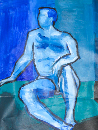 Homme nu bleu