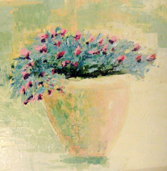 Pot de fleurs bleues