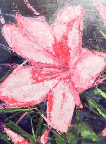 Fleur rouge au couteau