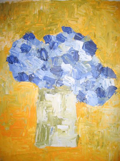 Le bouquet de fleurs bleues