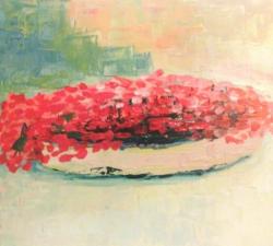 Pot de fleurs rouges