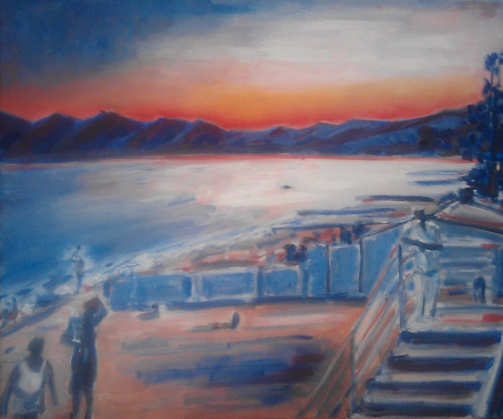 coucher de soleil sur les plages de nice