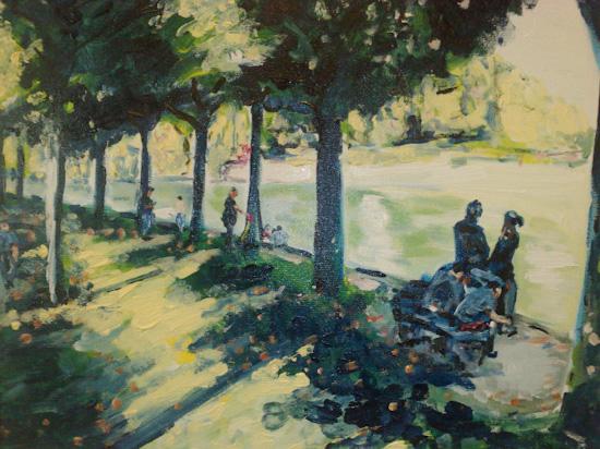 Promeneurs sur les bords de Marne