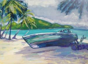 Bateau échoué sur la plage en Martinique
