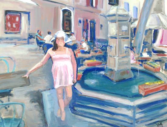Emilie devant la fontaine à Manosque
