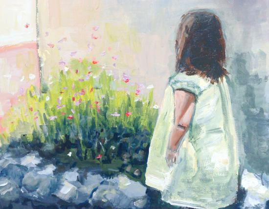 Emilie face aux fleurs