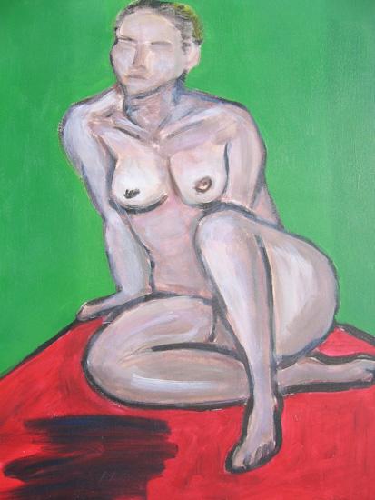 Femme nue sur tapis rouge